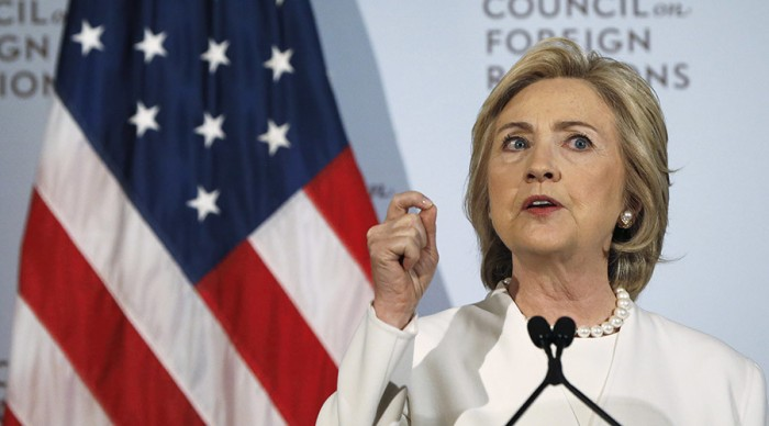 Democratic U.S. presidential candidate Hillary Clinton speaks at the Council on Foreign Relations in New York November 19, 2015. REUTERS/Shannon Stapleton - RTS7ZR5